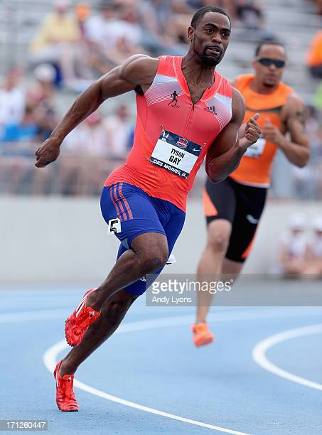 Tyson Gay runs to victory in the 200 Meter on day four of the 2013 USA Outdoor Track & Field Championships at Drake Stadium on June 23, 2013 in Des...
