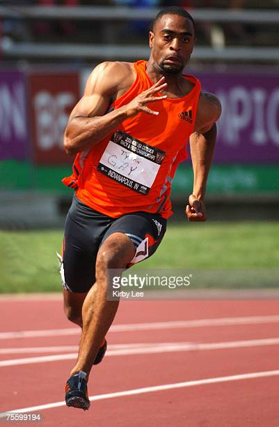 Tyson Gay wins first-round heat of the 200 meters in 20.46 in the USA Track & Field Championships at IUPUI's Michael A. Carroll Track & Soccer...