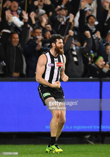Tyson Goldsack of the Magpies celebrates winning the AFL Semi Final match between the Collingwood Magpies and the Greater Western Sydney Giants at...