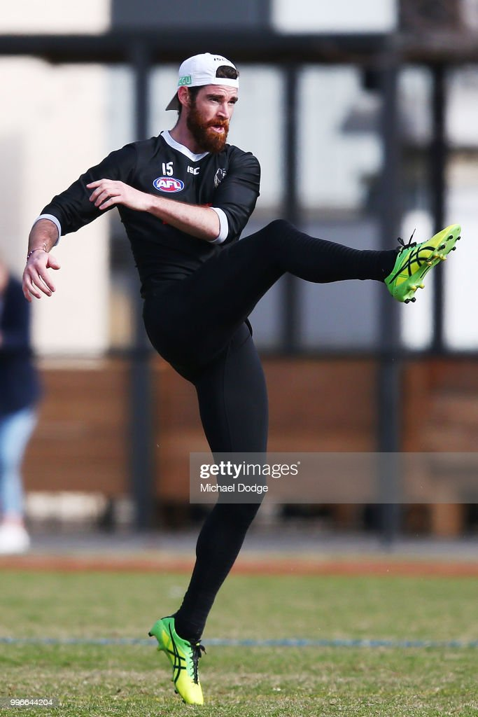 Tyson Goldsack of the Magpies, coming back from a knee reconstruction, kicks the ball during a Collingwood Magpies AFL press conference at the Holden Centre on July 12, 2018 in Melbourne, Australia.