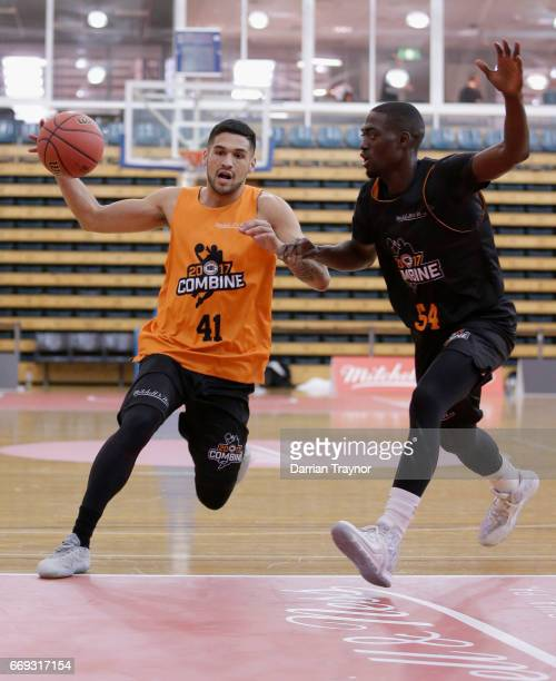 Tyson Hoffmann dreibbles the ball during the NBL Combine 2017/18 at Melbourne Sports and Aquatic Centre on April 17 2017 in Melbourne Australia