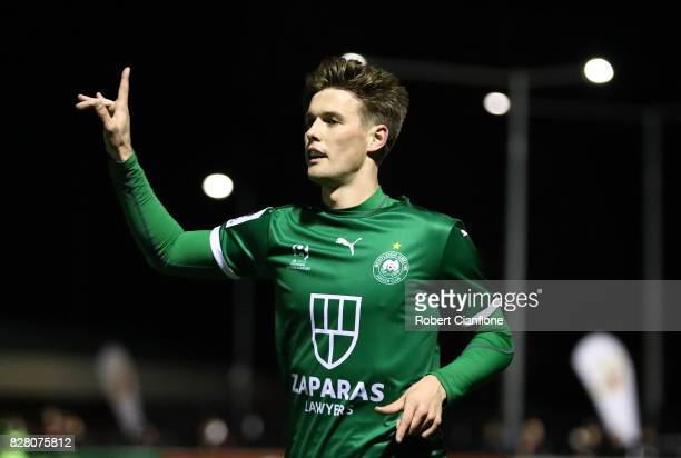 Tyson Holmes of Bentleigh Greens celebrates after scoring a goal during the FFA Cup round of 32 match between Hume City FC and Bentleigh Greens at...