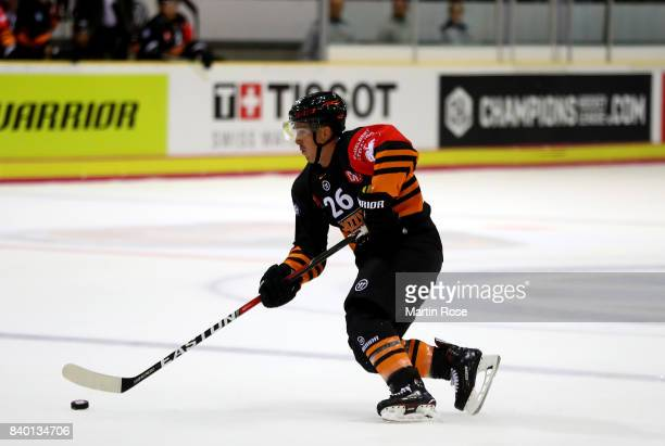 Tyson Mulock of Wolfsburg skates against Banska Bystrica during the Champions Hockey League match between Grizzlys Wolfsburg and HC05 Banska Bystrica...
