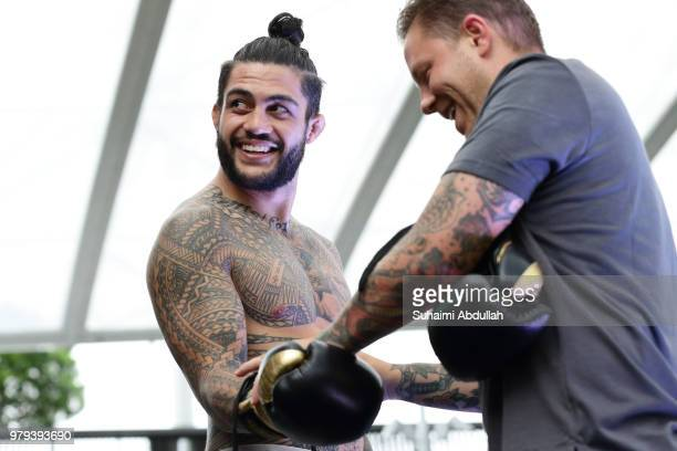 Tyson Pedro of Australia participates in the UFC Fight Night Open Workout at OCBC Square on June 20 2018 in Singapore