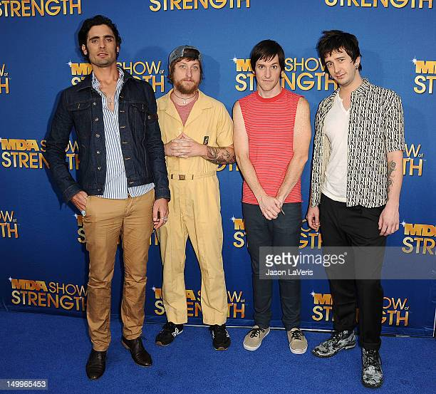 Tyson Ritter Chris Gaylor Mike Kennerty and Nick Wheeler of The AllAmerican Rejects attend the MDA Labor Day Telethon at CBS Studios on August 7 2012...