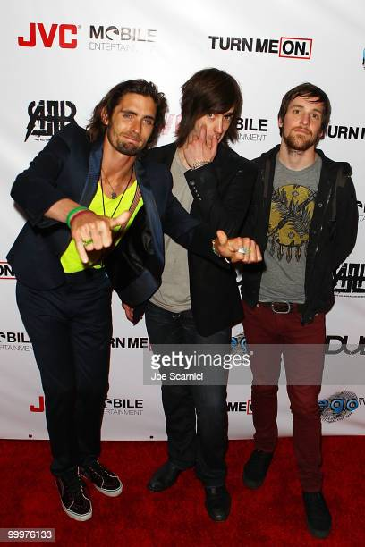 Tyson Ritter Nick Wheeler and Mike Kennerty of AllAmerican Rejectsarrive at the AllAmerican Rejects World Video Premiere Party at cinespace on May 18...