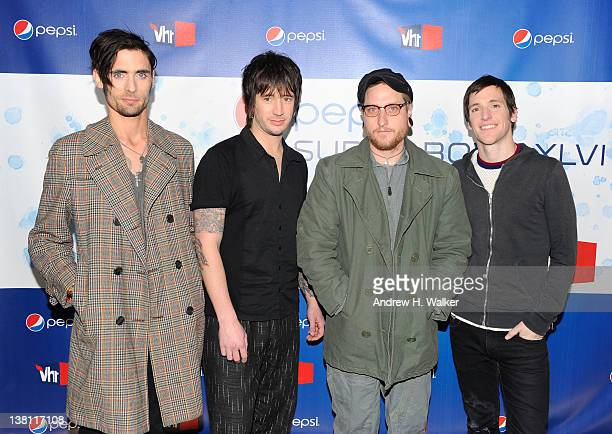 Tyson Ritter Nick Wheeler Chris Gaylor and Mike Kennerty of the band AllAmerican Rejects attend Vh1 Pepsi Super Bowl Fan Jam with Gym Class Heroes...