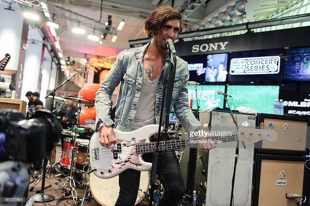 Tyson Ritter of The All-American Rejects performs live at the MLB Fan Cave on September 10, 2012 in New York City.
