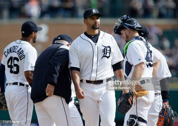 Tyson Ross of the Detroit Tigers is pulled from the game against the Kansas City Royals during the second inning at Comerica Park on May 4 2019 in...