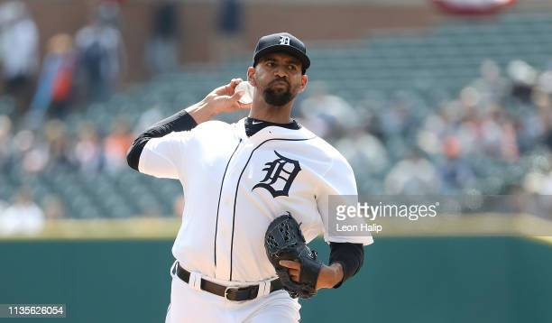 Tyson Ross of the Detroit Tigers pitches during the first inning of the game against the Kansas City Royals at Comerica Park on April 7 2019 in...