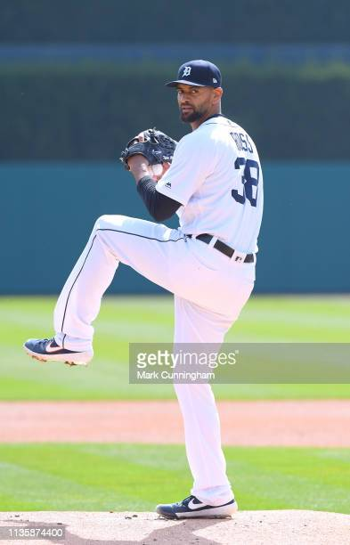 Tyson Ross of the Detroit Tigers pitches during the game against the Kansas City Royals at Comerica Park on April 7 2019 in Detroit Michigan The...