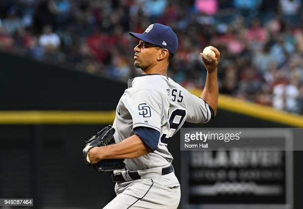 Tyson Ross of the San Diego Padres delivers a first inning pitch against the Arizona Diamondbacks at Chase Field on April 20 2018 in Phoenix Arizona