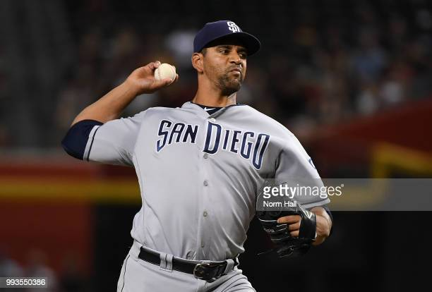 Tyson Ross of the San Diego Padres delivers a first inning pitch against the Arizona Diamondbacks at Chase Field on July 7 2018 in Phoenix Arizona