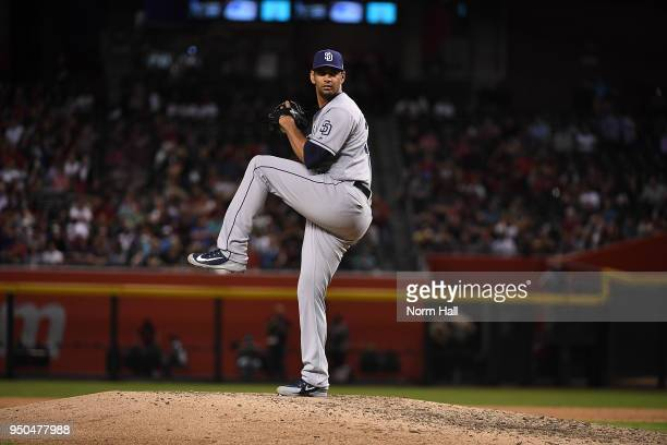 Tyson Ross of the San Diego Padres delivers a pitch against the Arizona Diamondbacks at Chase Field on April 20 2018 in Phoenix Arizona