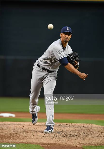 Tyson Ross of the San Diego Padres delivers a warm up pitch against the Arizona Diamondbacks at Chase Field on April 20 2018 in Phoenix Arizona