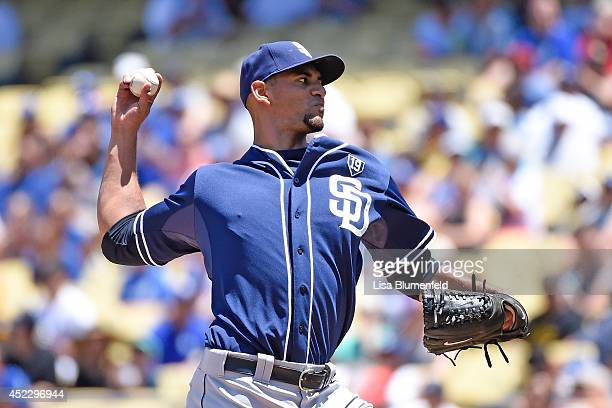 Tyson Ross of the San Diego Padres pitches against the Los Angeles Dodgers at Dodger Stadium on July 13 2014 in Los Angeles California
