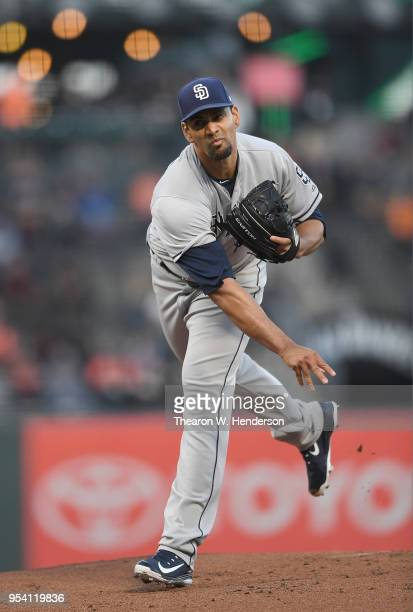 Tyson Ross of the San Diego Padres pitches against the San Francisco Giants in the bottom of the first inning at ATT Park on May 1 2018 in San...