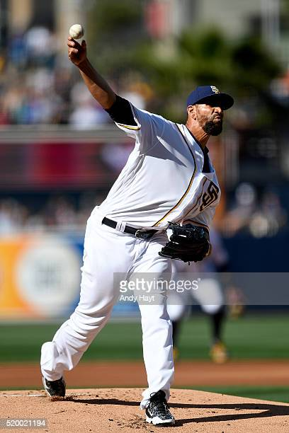 Tyson Ross of the San Diego Padres pitches during a game against the Los Angeles Dodgers on Opening Day at Petco Park on April 4 2016 in San Diego...