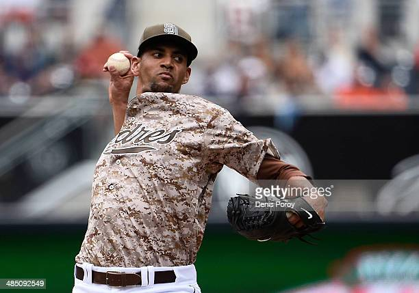 Tyson Ross of the San Diego Padres pitches during the first inning of an interleague baseball game at Petco Park against the Detroit Tigers April 13...