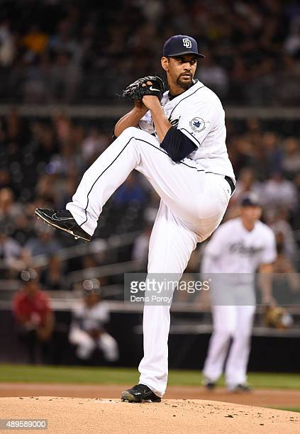 Tyson Ross of the San Diego Padres pitches during the first inning of a baseball game against the San Francisco Giants at Petco Park September 22...