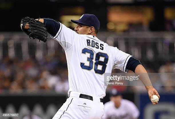 Tyson Ross of the San Diego Padres pitches during the first inning of a baseball game against the Milwaukee Brewers at Petco Park September 29 2015...