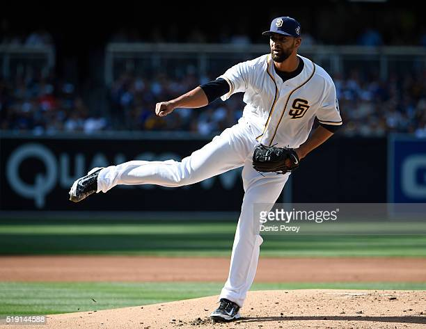 Tyson Ross of the San Diego Padres pitches during the first inning of a baseball game against the Los Angeles Dodgers on opening day at PETCO Park on...