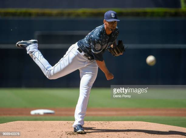 Tyson Ross of the San Diego Padres pitches during the first inning of a baseball game against the Cincinnati Reds at PETCO Park on June 3 2018 in San...