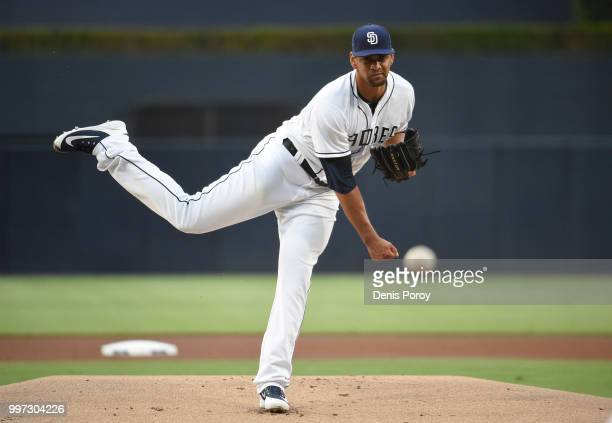 Tyson Ross of the San Diego Padres pitches during the first inning of a baseball game against the Los Angeles Dodgers at PETCO Park on July 12 2018...