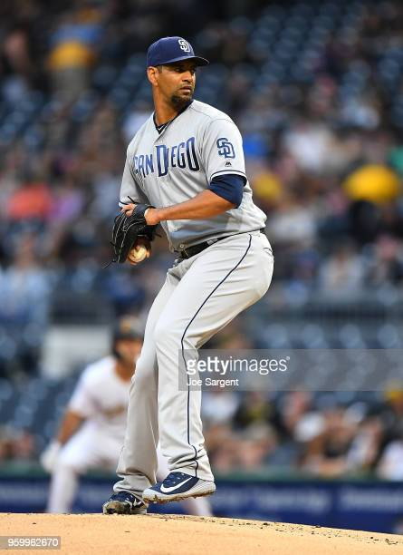 Tyson Ross of the San Diego Padres pitches during the first inning against the Pittsburgh Pirates at PNC Park on May 18 2018 in Pittsburgh...