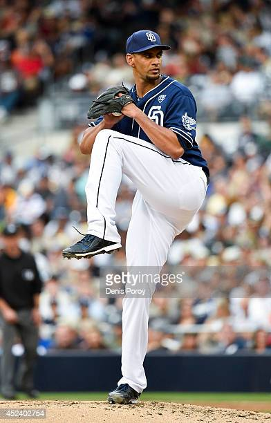 Tyson Ross of the San Diego Padres pitches during the fourth inning of a baseball game against the New York Mets at Petco Park July 19 2014 in San...