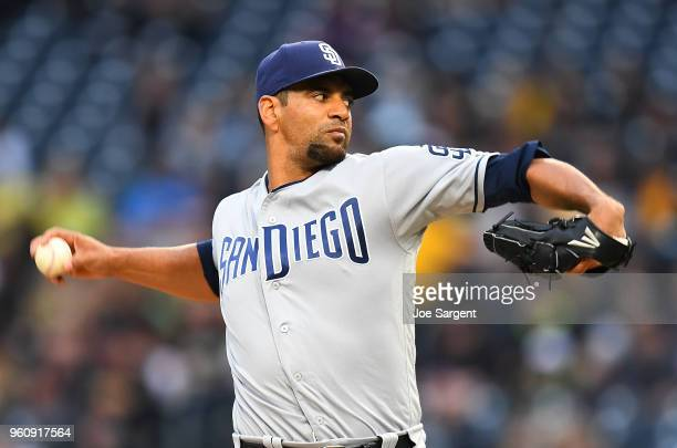 Tyson Ross of the San Diego Padres pitches during the game against the Pittsburgh Pirates at PNC Park on May 18 2018 in Pittsburgh Pennsylvania
