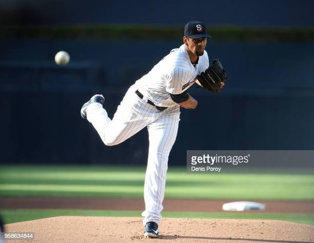 Tyson Ross of the San Diego Padres pitches in the first inning of a baseball game against the St Louis Cardinals at PETCO Park on May 12 2018 in San...