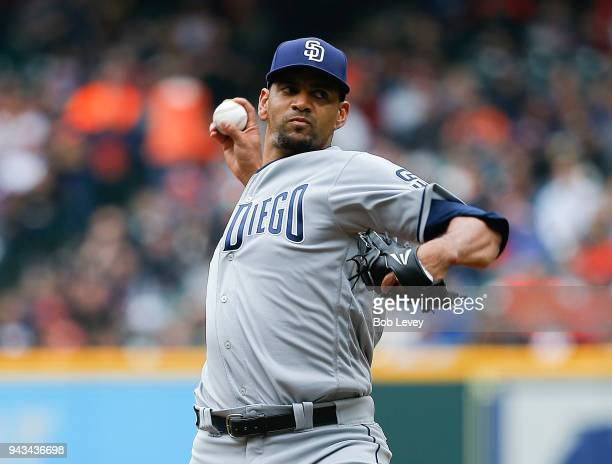 Tyson Ross of the San Diego Padres pitches in the first inning against the Houston Astros at Minute Maid Park on April 8 2018 in Houston Texas