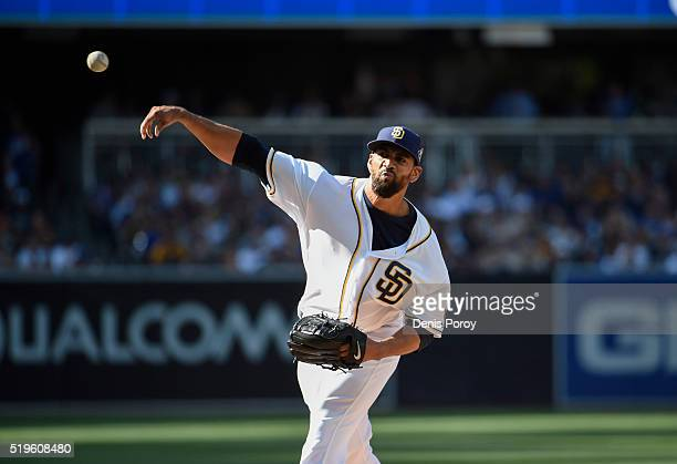 Tyson Ross of the San Diego Padres plays during a baseball game against the Los Angeles Dodgers on opening day at PETCO Park on April 4 2016 in San...