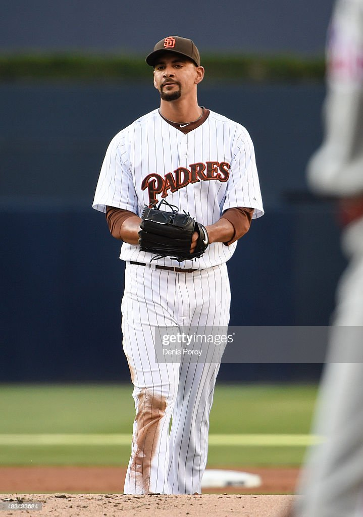 Tyson Ross #38 of the San Diego Padres walks back to the mound after giving up a run during the first inning of a baseball game against the Philadelphia Phillies at Petco Park August 8, 2015 in San Diego, California.