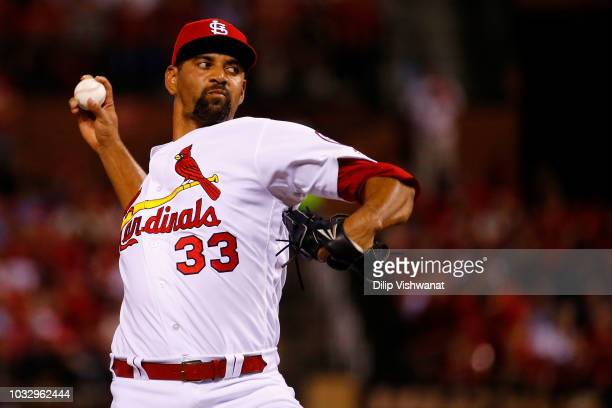 Tyson Ross of the St Louis Cardinals pitches against the Los Angeles Dodgers in the fourth inning at Busch Stadium on September 13 2018 in St Louis...