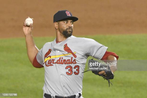 Tyson Ross of the St Louis Cardinals pitches during a baseball game against the Washington Nationals at Nationals Park on September 4 2018 in...