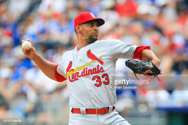 Tyson Ross of the St Louis Cardinals pitches during the first inning against the Kansas City Royals at Kauffman Stadium on August 12 2018 in Kansas...