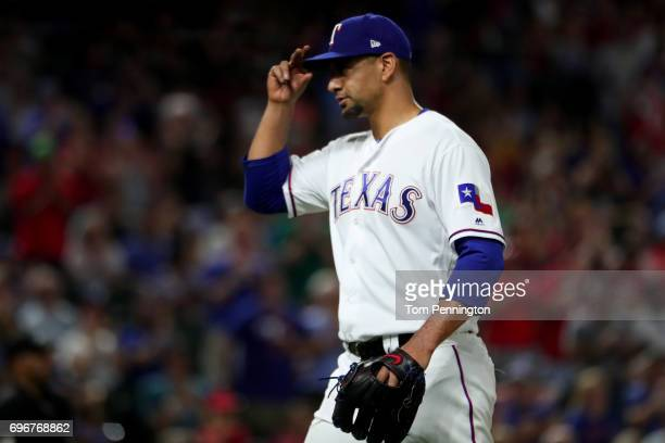 Tyson Ross of the Texas Rangers leaves the game against the Seattle Mariners in the top of the sixth inning at Globe Life Park in Arlington on June...
