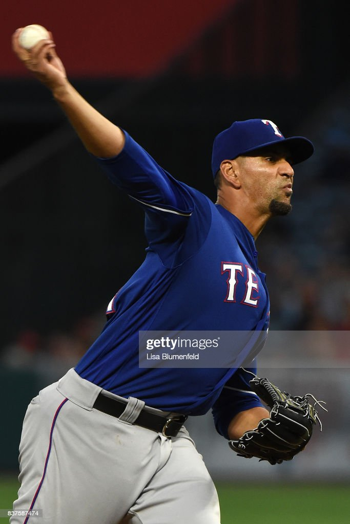 Tyson Ross #44 of the Texas Rangers pitches against the Los Angeles Angels of Anaheim at Angel Stadium of Anaheim on August 22, 2017 in Anaheim, California.