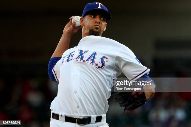 Tyson Ross of the Texas Rangers pitches against the Seattle Mariners in the top of the first inning at Globe Life Park in Arlington on June 16 2017...
