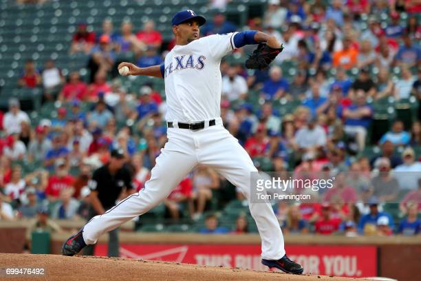 Tyson Ross of the Texas Rangers pitches against the Toronto Blue Jays in the top of the first inning at Globe Life Park in Arlington on June 21 2017...