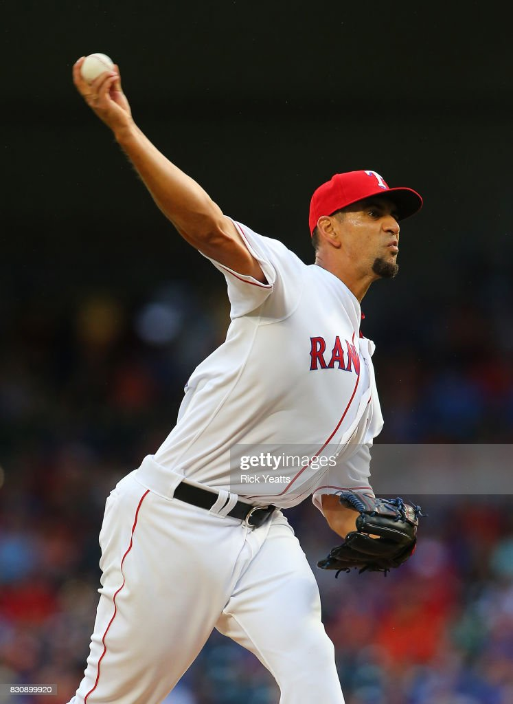 Tyson Ross #44 of the Texas Rangers throws in the first inning against the Houston Astros at Globe Life Park in Arlington on August 12, 2017 in Arlington, Texas.