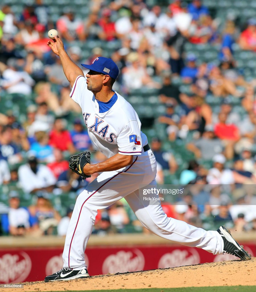 Tyson Ross #44 of the Texas Rangers throws in the seventh inning against the New York Yankees at Globe Life Park in Arlington on September 10, 2017 in Arlington, Texas.