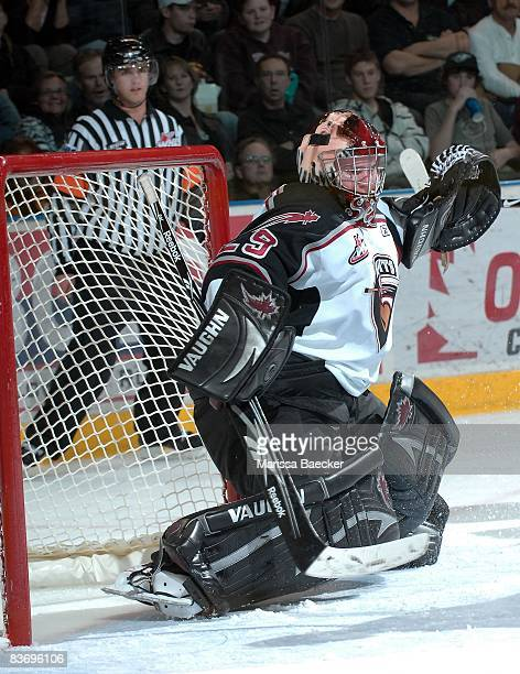 Tyson Sexsmith of the Vancouver Giants makes a save against the Kelowna Rockets on November 13 2008 at Prospera Place in Kelowna Canada Sexsmith is a...