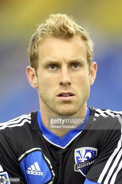 Tyson Wahl of the Montreal Impact warms up during the warm up period prior to facing the New York Red Bulls in their MLS match at the Olympic Stadium...