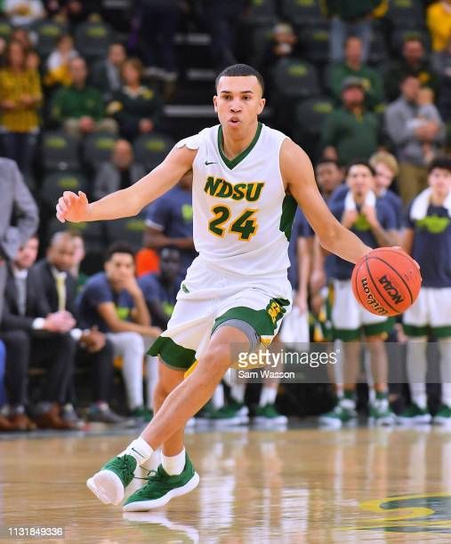 Tyson Ward of the North Dakota State Bison dribbles against the Omaha Mavericks during their game at Scheels Center on February 23 2019 in Fargo...
