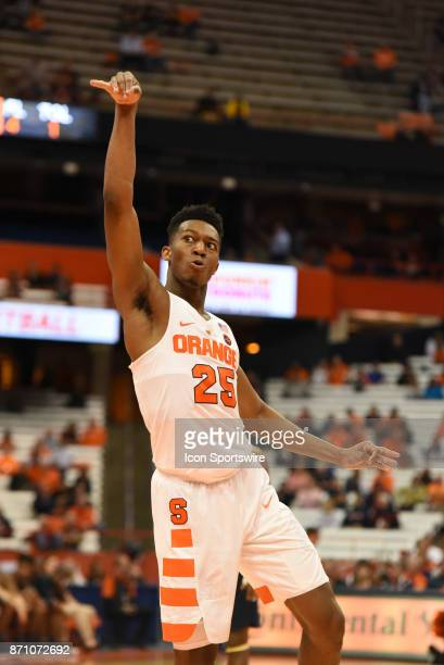 Tyus Battle of Syracuse Orange with a off balance foul shot attempt during the second half of play during the game between the Syracuse Orange and...