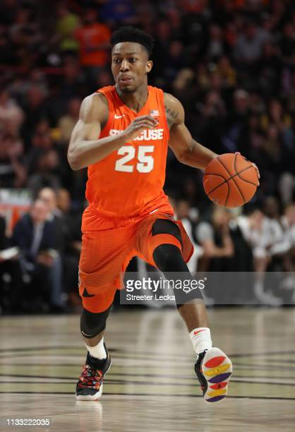 Tyus Battle of the Syracuse Orange brings the ball up the court against the Wake Forest Demon Deacons during their game at LJVM Coliseum Complex on...