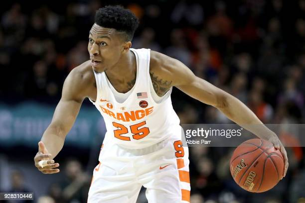 Tyus Battle of the Syracuse Orange communicates down the court in the second half against the Wake Forest Demon Deacons during the first round of the...